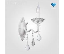 Настенные светильники Бра с хрусталем 10049/1 белый с серебром/прозрачный хрусталь Strotskis
