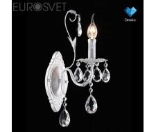 Настенные светильники Бра с хрусталем 10050/1 белый с серебром/прозрачный хрусталь Strotskis