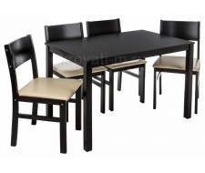 Обеденная группа Kabur (стол и 4 стула) cappuccino / cream