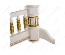 Стол деревянный Кантри молочный с золотой патиной