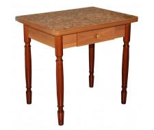 Стол обеденный ЛС-831 с ящиком (Осенний сад 2048/ ноги Орех точеные)