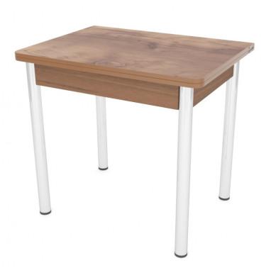 Стол обеденный ЛС-831 (пластик 2053 Таксус/ ноги Хром/кромка+подстолье темный)