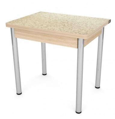 Стол обеденный ЛС-831 (пластик 3042 Семолина/ ноги Хром/кромка+подстолье дуб бел.)