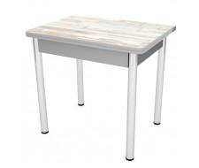 Стол обеденный ЛС-831 (пластик 4075 арвика/ ноги Хром/кромка+подстолье серый)