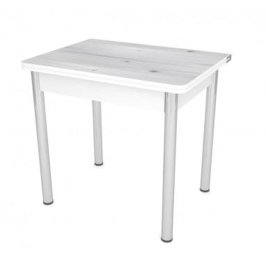Стол обеденный ЛС-831 (Бийская сосна 2058/ ноги Хром/ЛДСП+кромка Белый)