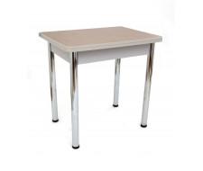 Стол обеденный ЛС-831 (столешница кожа Золото/ноги Хром)