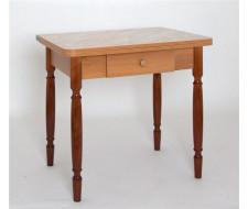 Стол обеденный ЛС-831 с ящиком (Мрамор беж (3020)/ ноги Орех точеные)