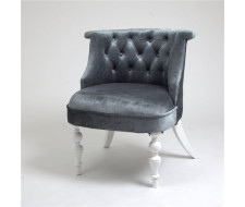 Кресло Бархат (эмаль белая / 25 - грязно-голубой)