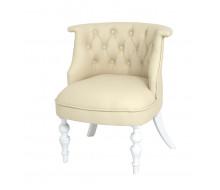 Кресло Бархат (эмаль белая / кожзам 4 кремовый)