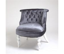 Кресло Бархат (эмаль белая / 36 - голубовато-серый)