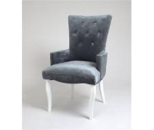 Кресло Виктория (эмаль белая / 25 - грязно-голубой)