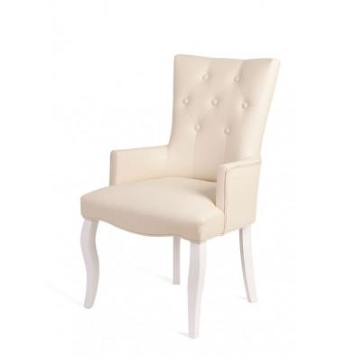 Кресло Виктория (эмаль белая / кожзам 4 кремовый)