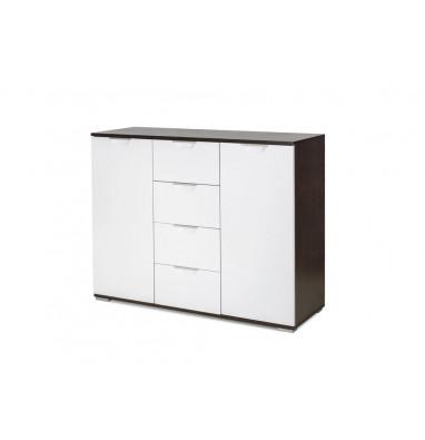 Комод Лайн-4 (Венге/Белый глянец)