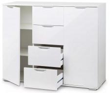 Комод Лайн-4 (Белый/Белый глянец)