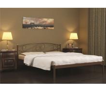Кровать двуспальная Волна (140х200/металлическое основание) Коричневый бархат
