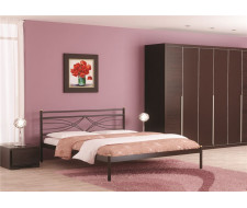 Кровать двуспальная Мираж (140х200/металлическое основание) Коричневый бархат