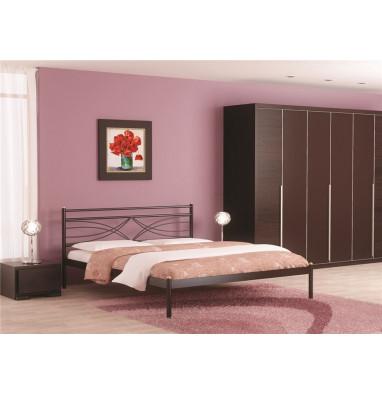 Кровать двуспальная Мираж (160х200/металлическое основание) Коричневый бархат