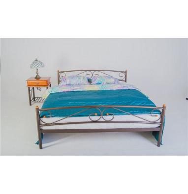Кровать двуспальная Валерия с изножьем (160х200/металлическое основание) Коричневый бархат