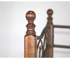 Кушетка Глэдис-М (Коричневый бархат-металл/темный орех/90х200)