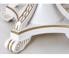 """Стол обеденный """"Кардинал d-1100"""" (круглый/ матовый + патина золото) Белый"""