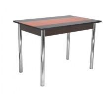 Стол обеденный Техно КС-001 (черно-оранжевый/ноги хром)