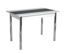 Стол обеденный Техно КС-001 (стекло белое-черная вставка/ноги хром)