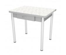 Стол обеденный ЛС-831 с ящиком (пластик 4042/ ноги Хром/кромка+подстолье серый)
