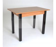 Стол 834 прямоугольный (Индиан Эбони/16 мм/царги и кромка Ольха/ ноги Черные прямые)