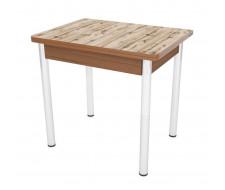 Стол обеденный ЛС-831 (пластик 2052 Дуб вотан/ ноги Хром/кромка+подстолье темный)