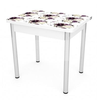 Стол обеденный ЛС-831 (пластик 999 Прованс/ ноги Хром/кромка+подстолье белый)