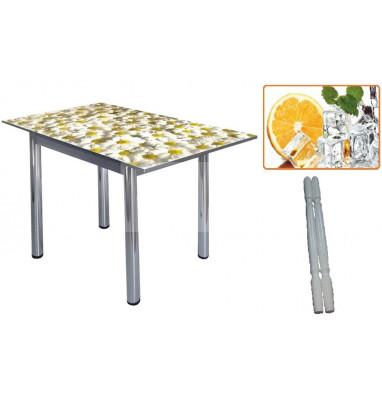 Стол обеденный 832-П (Апельсин (ЧС-24) / ноги Белый) фото печать