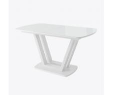 Стол раздвижной Лавин со стеклом 140(185)х80, Белый/белый