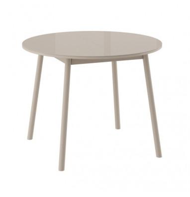 Стол РАУНД круглый раздвижной со стеклом D100(137х100) см, Капучино/Капучино