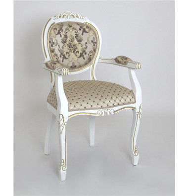 """Кресло """"Орион-2"""" п/м (Белый матовый+патина золото / ткань Креам 110+109)"""
