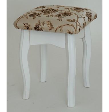 Табурет из массива березы (Розы светлые-ткань/Белый-каркас)