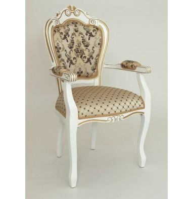 """Кресло """"КАРДИНАЛ"""" п/м (Белый матовый/ткань CREAM 110+109) патина золото"""