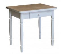 Стол обеденный ЛС-831 с ящиком (ЛДСП/Ясень шимо/ ноги Белые)