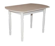 Стол обеденный ЕР-833 (столешница Кожа бежевая (8510) 2022/ ноги Белые точеные)