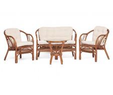 "Комплект ""NEW BOGOTA "" (диван + 2 кресла + стол со стеклом) с подушками coco brown (коричневый кокос)"