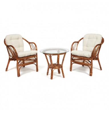 """ТЕРРАСНЫЙ КОМПЛЕКТ """"NEW BOGOTA"""" (2 кресла + стол) с подушками coco brown (коричневый кокос)"""