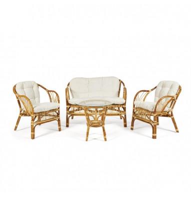 """Комплект """"NEW BOGOTA ECO SKIN """" (диван + 2 кресла + стол со стеклом) /с подушками. Natural (натуральный)"""
