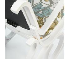 Кресло-качалка mod. AX3002-2 белый, ткань орнамент 9068-BL