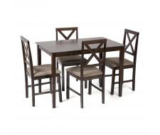 Обеденный комплект эконом Хадсон (стол + 4 стула)/ Hudson cappuccino (темный орех). Цвет обивки: светло-коричневая