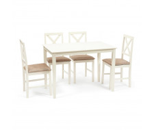 Обеденный комплект эконом Хадсон (стол + 4 стула)/ Hudson ivory white, ткань кор.-зол. (1505-9)