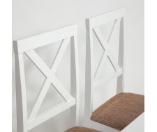 Обеденный комплект эконом Хадсон (стол + 4 стула)/ Hudson pure white (белый 2-1), ткань кор.-зол.(1505-9)