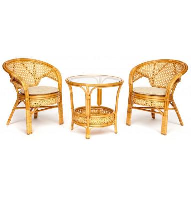 """Террасный комплект """"PELANGI"""" (стол со стеклом + 2 кресла) Honey (мед)"""