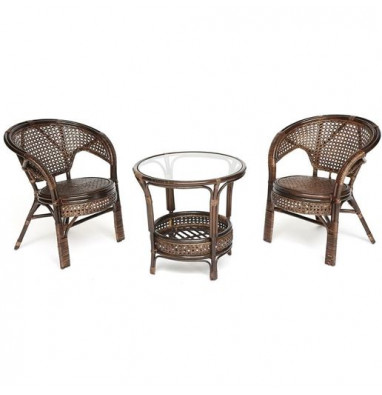 """Террасный комплект """"PELANGI"""" (стол со стеклом + 2 кресла) walnut (грецкий орех)"""