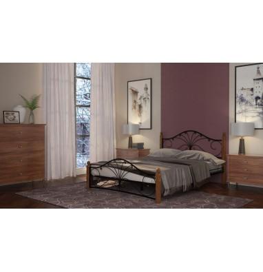 Кровать Фортуна 1 (чёрный/махагон) 140х200 см