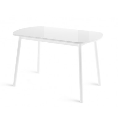 Стол РАУНД раздвижной со стеклом 120(152)х70, Белый/Белый