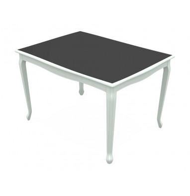 Стол Кабриоль 120 Glass Эмаль белая / Стекло – черное